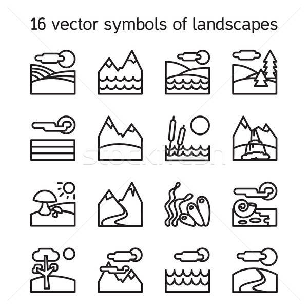 пейзаж иконки коллекция природы прямоугольник Сток-фото © barsrsind