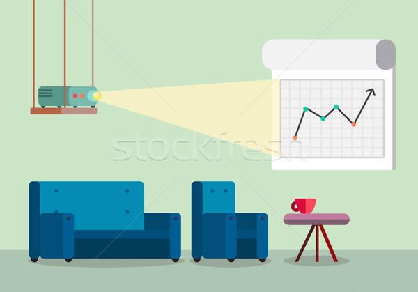 Presentatie kamer projector comfortabel kantoorwerk boord Stockfoto © barsrsind