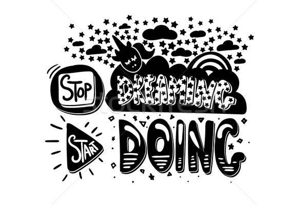 Foto stock: Pare · começar · motivação · branco · vetor