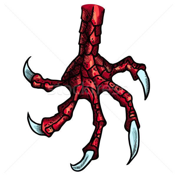 Draak monster poot wild tattoo Stockfoto © barsrsind