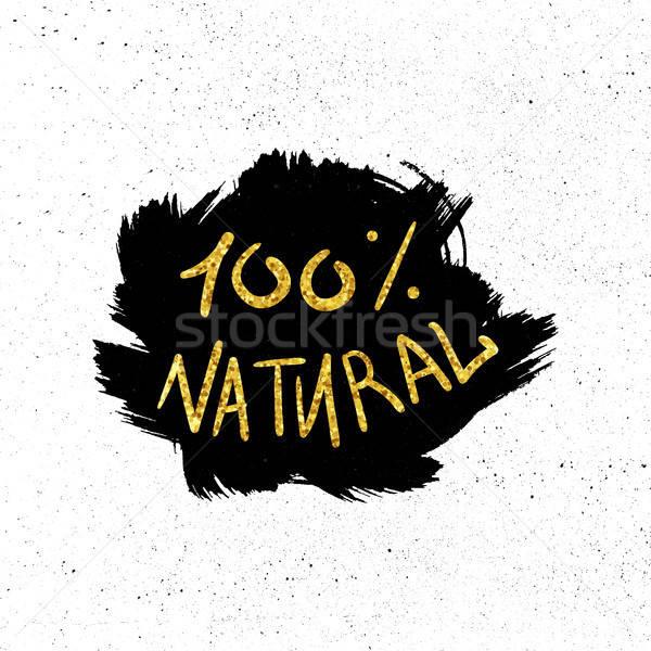 Stock fotó: öko · természetes · kézzel · rajzolt · arany · ökológia · 100