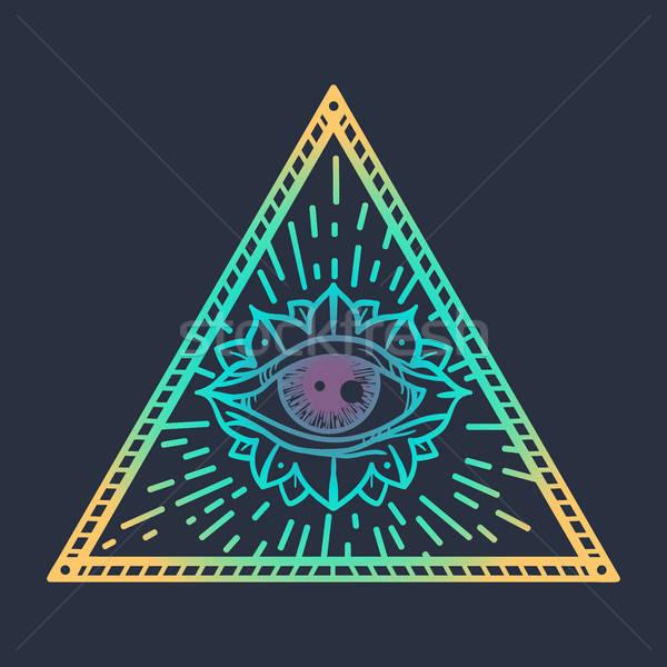 Tüm göz üçgen bağbozumu büyü simge Stok fotoğraf © barsrsind