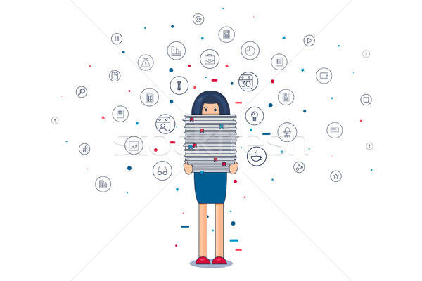 Worker with stack of papers Stock photo © barsrsind