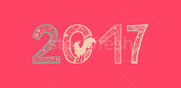 Coq imprimer affiche vignette happy new year carte de vœux Photo stock © barsrsind