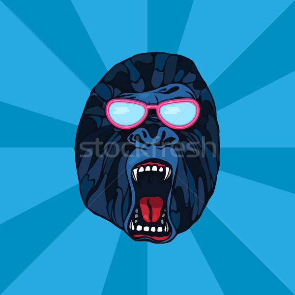 Stock fotó: Gorilla · tetoválás · részletes · rajz · stílus · szemüveg