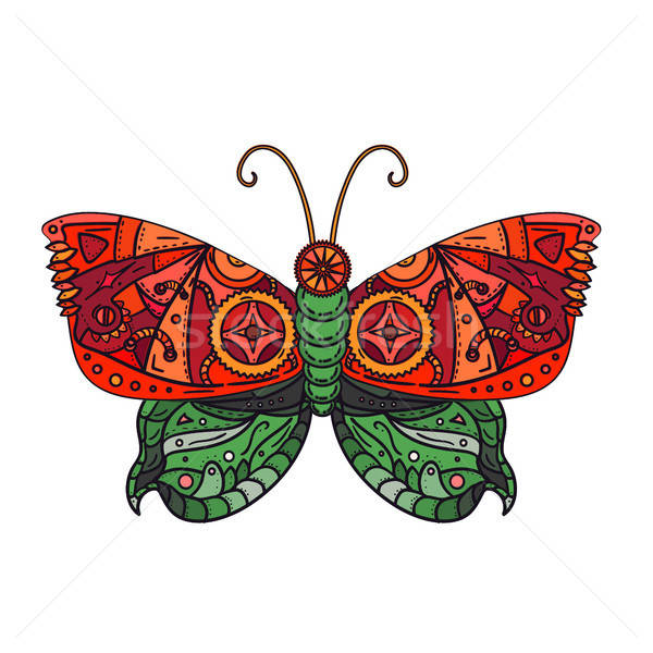Steampunk butterfly tattoo Stock photo © barsrsind