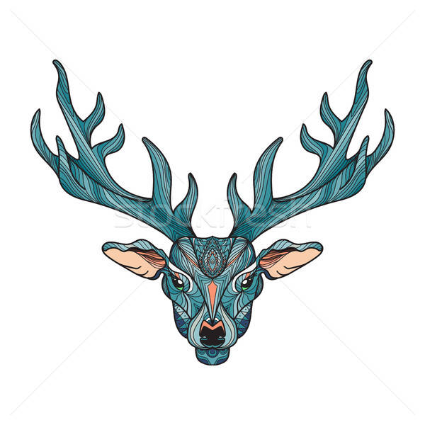 Deer head with horns Stock photo © barsrsind
