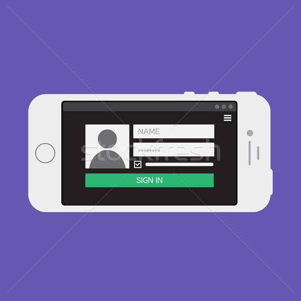 Web Template of Smartphone Login Form Stock photo © barsrsind