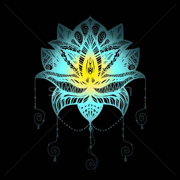 Fiore Lotus tattoo magia simbolo stampa Foto d'archivio © barsrsind