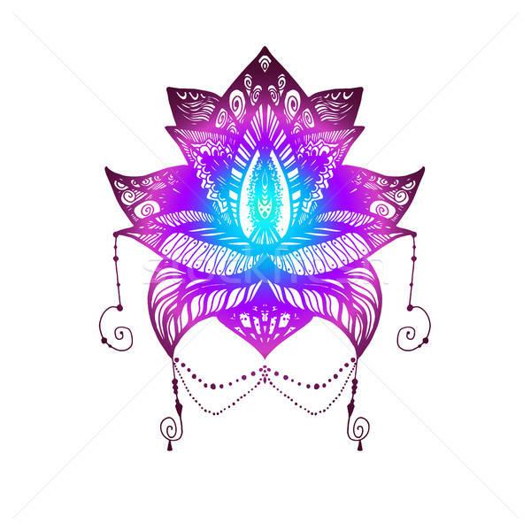Iek lotus dvme by simge bask vektr ilstrasyonu stok fotoraf stok vektr ilstrasyonu iek lotus dvme by simge bask flower lotus magic symbol for print tattoo coloring bookfabric mightylinksfo