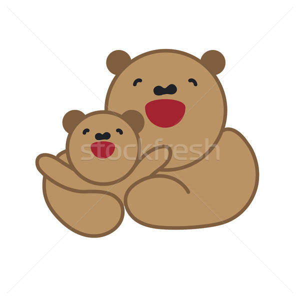 Sticker, card with happy mother and child brown bear Stock photo © barsrsind