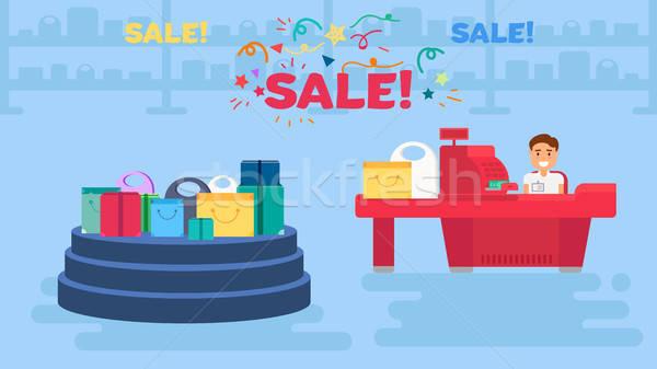 Shopping illustrazione store vendita cassiere Foto d'archivio © barsrsind