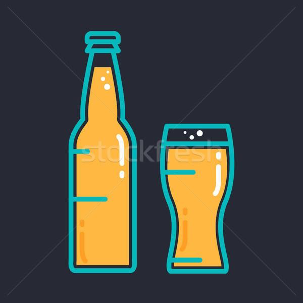 Koktél hideg sör dzsúz üveg üveg Stock fotó © barsrsind