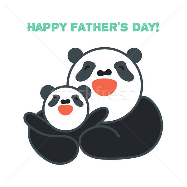 sticker, card with happy father and child panda Stock photo © barsrsind