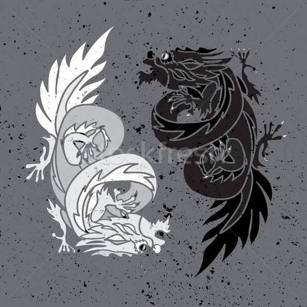 Chiński smok orientalny feng shui odizolowany symbol yin yang Zdjęcia stock © barsrsind