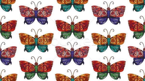 Steampunk butterfly seamless pattern Stock photo © barsrsind