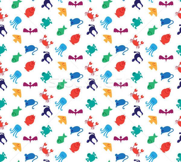 Animals icons seamless pattern Stock photo © barsrsind