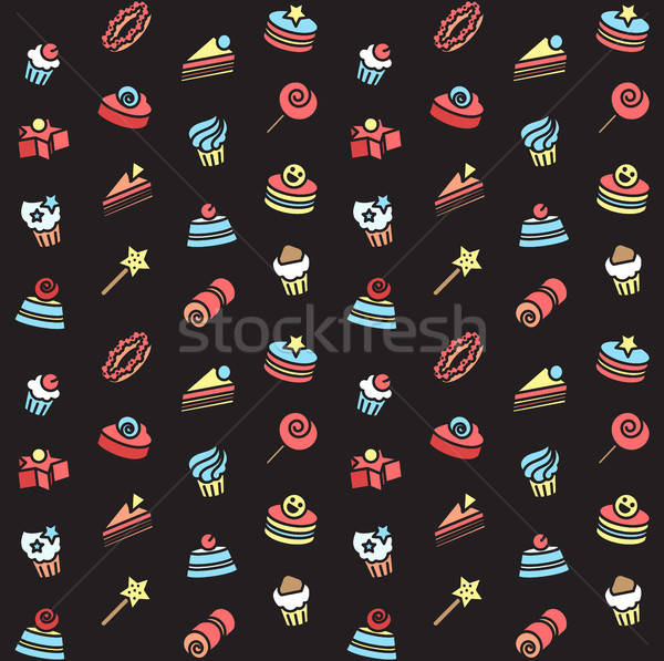 Seamless pattern of bakery and cake icons. Candy, sweet set Stock photo © barsrsind