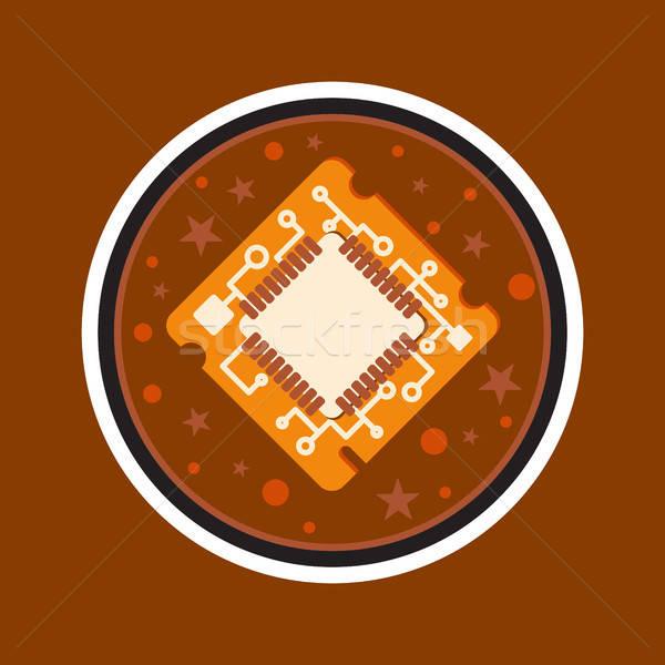 Számítógép processzor chip szimbólum programozós kemény munka Stock fotó © barsrsind