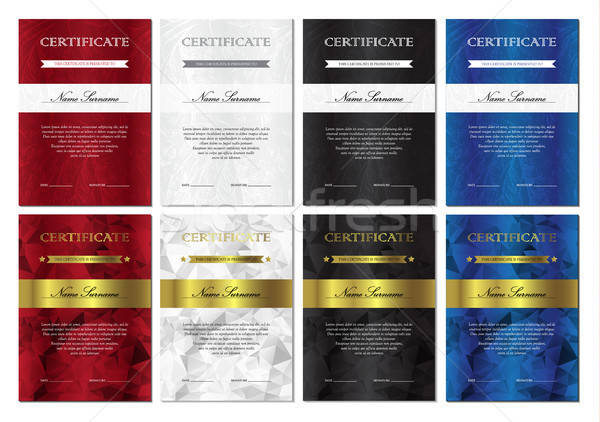 Certidão diploma templates conjunto vertical vermelho Foto stock © barsrsind