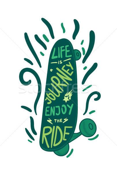 скейтборде Вдохновенный Vintage зеленый печать футболки Сток-фото © barsrsind