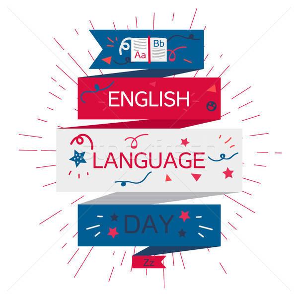 Englisch Sprache Tag Banner Buch Briefe Stock foto © barsrsind