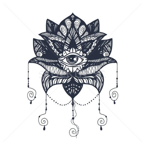 Oog lotus tattoo vintage alle mandala Stockfoto © barsrsind