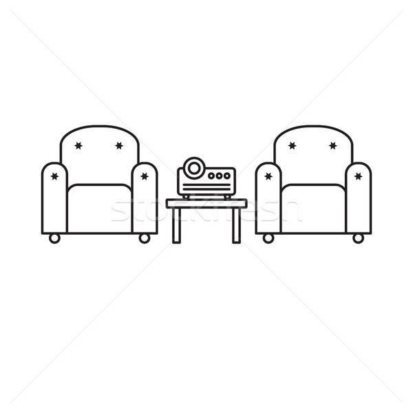 Presentatie kamer projector comfortabel kantoorwerk multimedia Stockfoto © barsrsind