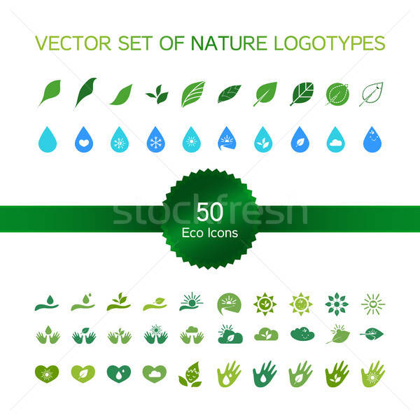 Ecology icons, nature logo Stock photo © barsrsind