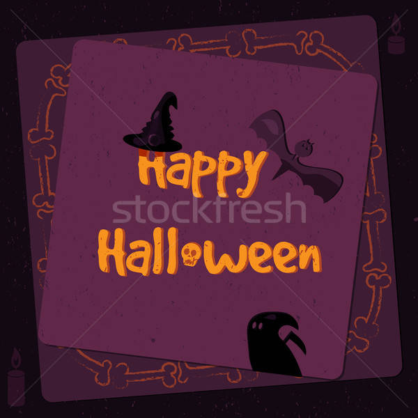 Halloween poster, bright banner, greeting card in grunge style Stock photo © barsrsind