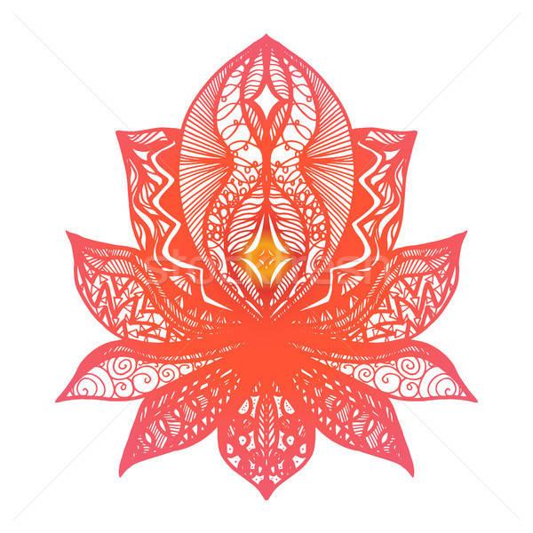цветок Lotus татуировка магия символ печать Сток-фото © barsrsind