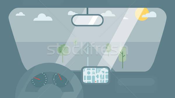 Içinde araba iç tekerlek hızölçer gps Stok fotoğraf © barsrsind