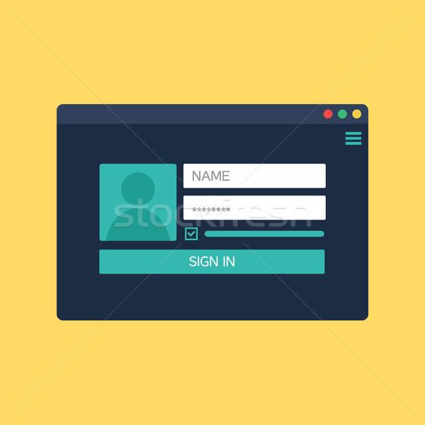 Forme s'identifier compte web modèle Photo stock © barsrsind