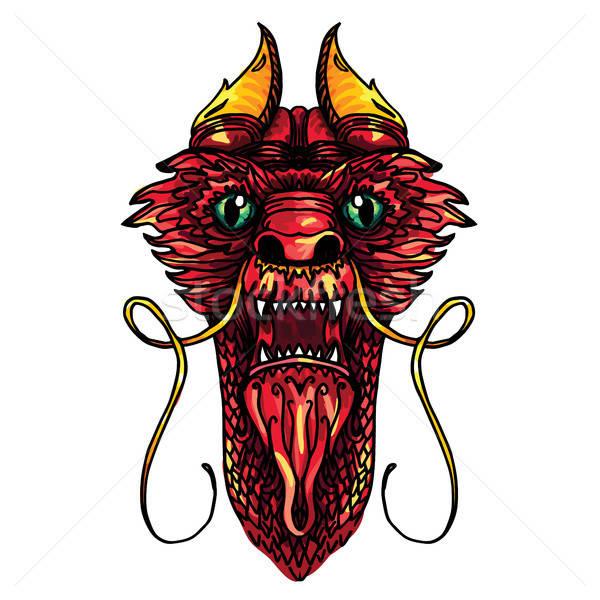 Dragon Head Tattoo Stock photo © barsrsind