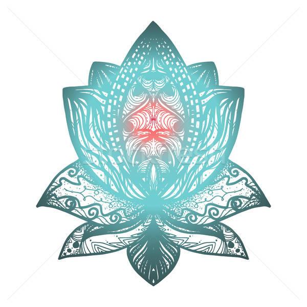 Stok fotoğraf: çiçek · lotus · dövme · büyü · simge · baskı