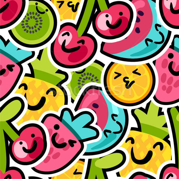 Stock photo: Lovely berries and fruits mix pattern