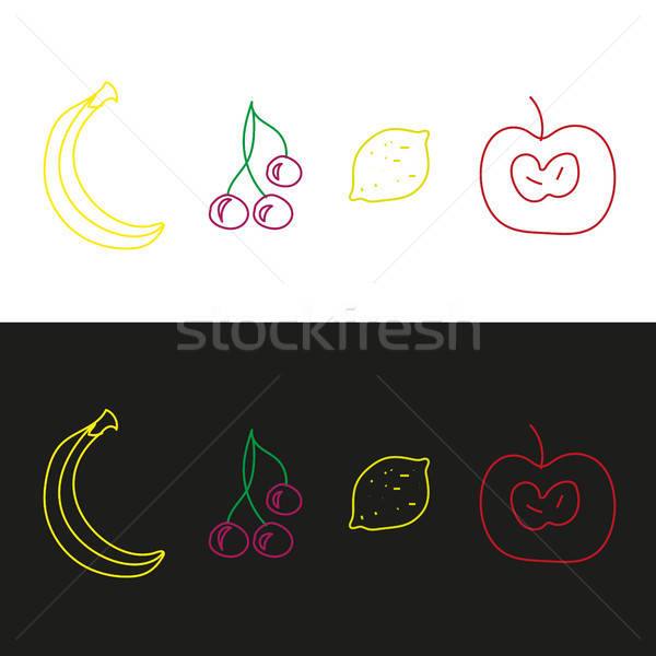 Apple, cherry, lemon and banana. Fruits Stock photo © barsrsind