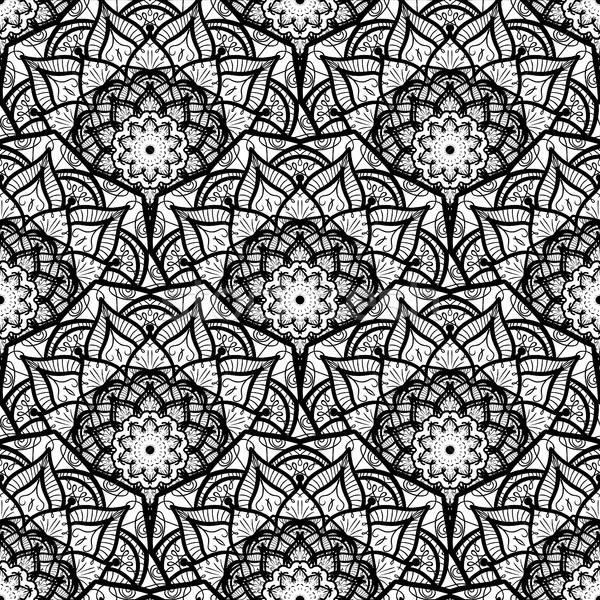 曼陀羅 手描き 黒白 アラビア語 インド ストックフォト © barsrsind