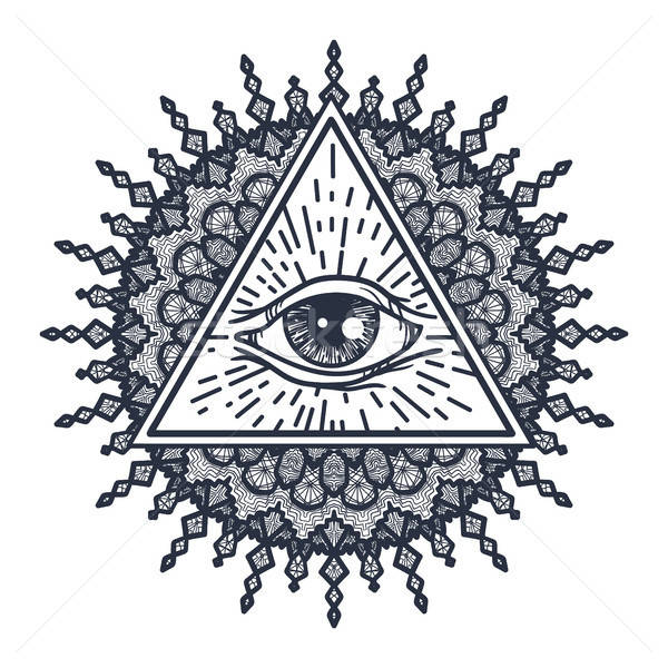 All Seeing Eye in Triangle and Mandal Stock photo © barsrsind