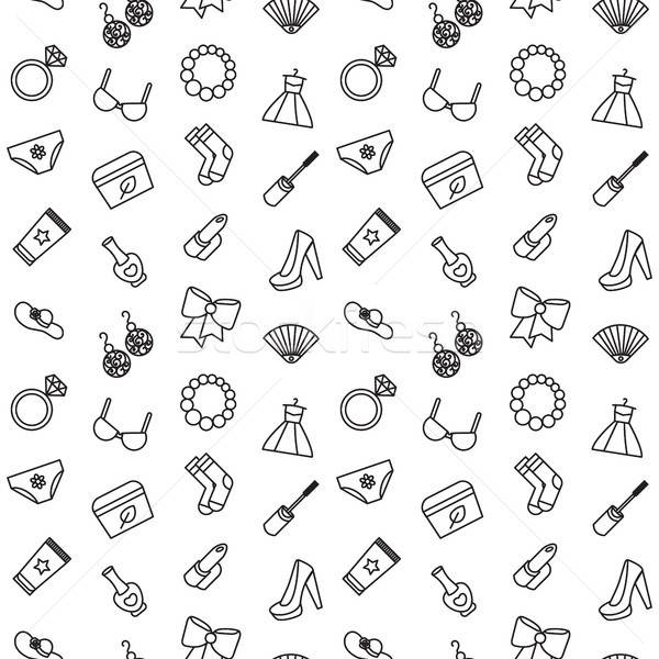 Woman accessories seamless pattern of cosmetics, clothes Stock photo © barsrsind