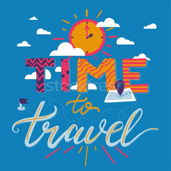 Idő utazás poszter turizmus motivációs kaland Stock fotó © barsrsind