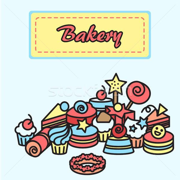 Ilustracja piekarni ciasto ikona naklejki candy Zdjęcia stock © barsrsind