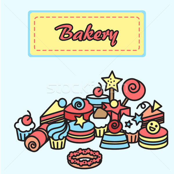 Illustration  of bakery, cake icons sticker. Candy, sweet banner Stock photo © barsrsind