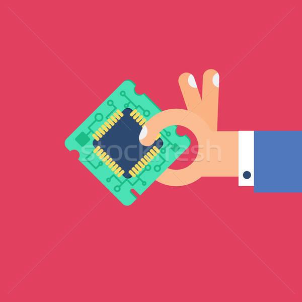 Computer bewerker chip hand symbool Stockfoto © barsrsind