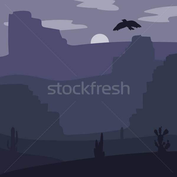 Vad nyugat tájkép éjszaka retro sivatag Stock fotó © barsrsind