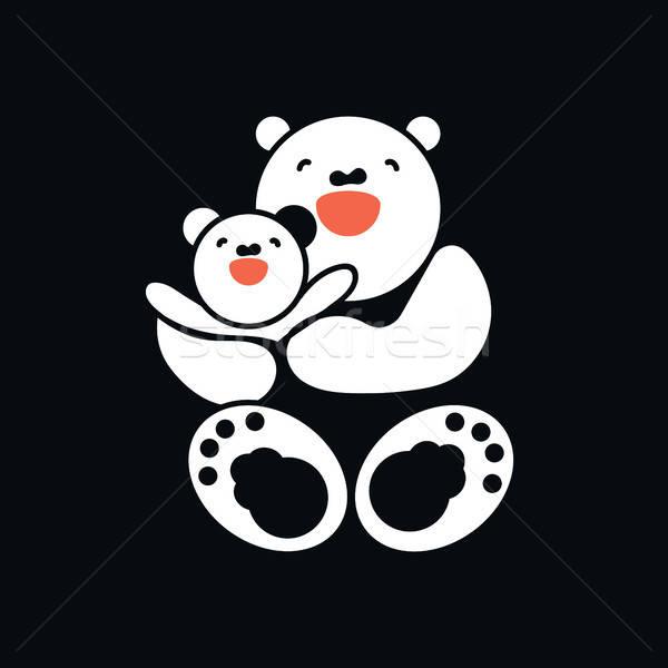 Aufkleber Karte glücklich Mutter Kind weiß Stock foto © barsrsind