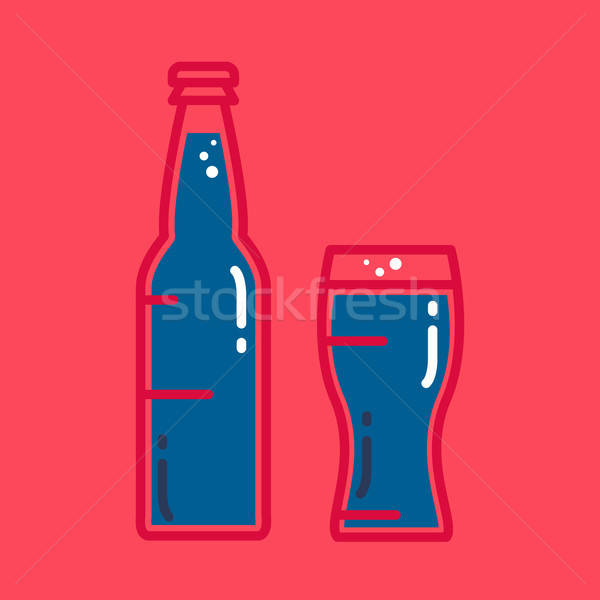 Cocktail, cold beer or juice bottle with glass Stock photo © barsrsind