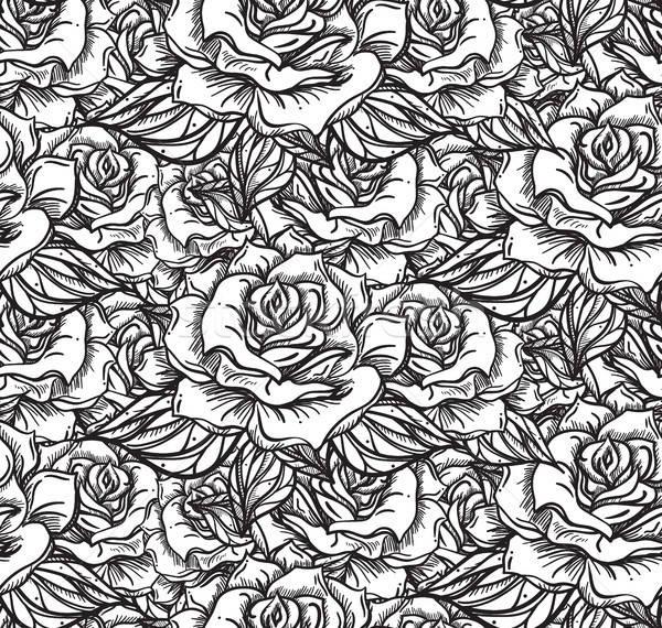 свадьба закрывается шаблон рисованной цветок Сток-фото © barsrsind