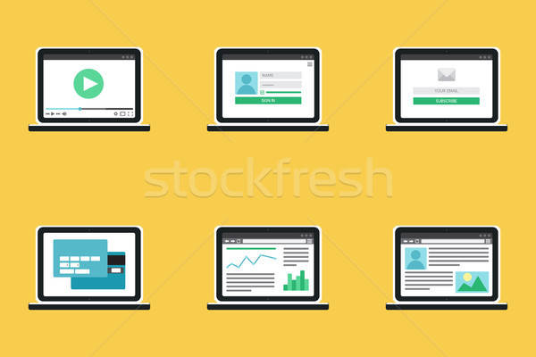 Stock photo: Adaptive Web Template Form On Notebook