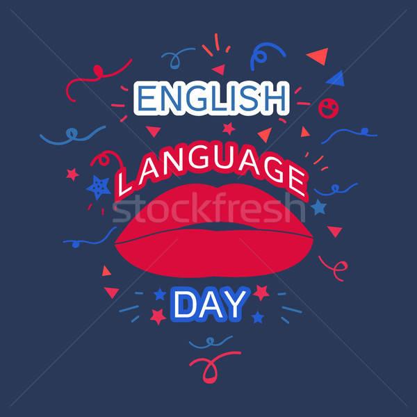 Englisch Sprache Tag Banner Lippen Vektor Stock foto © barsrsind